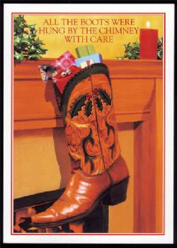 Cowboy boot hung by chimney Christmas Card