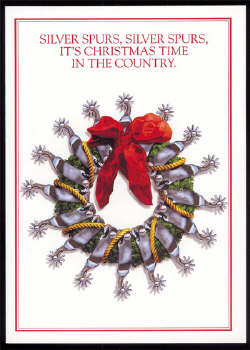 Wreath with silver spurs and rope Christmas Card