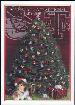 Texas A & M Christmas Tree with Reveille Christmas Card