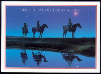 Three cowboys with reflection of three wise men Christmas Card