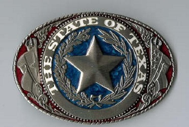 Colored State of Texas Seal belt buckle