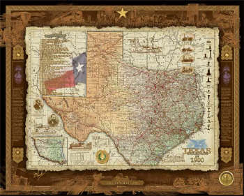 Print Texas Rails 1836 to 1900 24 x 30