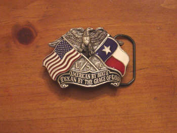 American By Birth Texan By The Grace Of God Belt Buckle