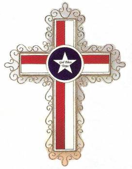 Texas Flag Cross In Painted Glass Stxop