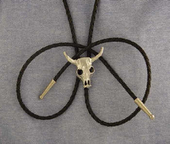 Silver or Gold Steer Skull bolo tie