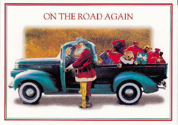 Santa at truck Christmas Card