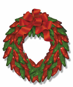 Chile pepper wreath with bow Christmas Card