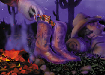 Cowboy with boots by fire Christmas Card