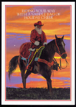 Santa on horseback with lights Christmas Card
