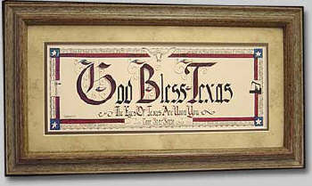 God Bless Texas Calligraphy, Large