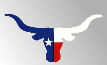 Texas flag in the shape of a Steer Head Bumper Decal