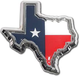 Texas Shape Flag Chrome Emblem