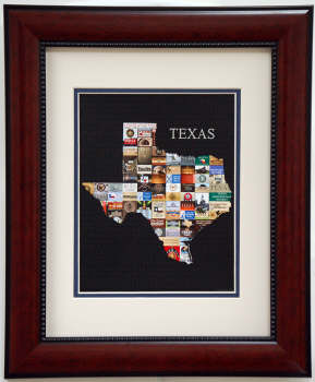 "Shape of Texas print of ""Texas"" signs Framed"