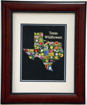Shape of Texas print of Texas Wildflowers Framed